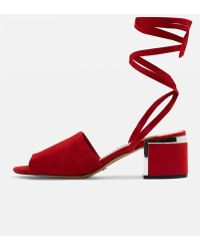TOPSHOP - Neeve Leather Metal Cage Sandals - Lyst