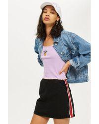 TOPSHOP - Petite Side Striped Denim Skirt - Lyst