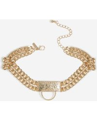 TOPSHOP Textured Ring Section Choker - Metallic