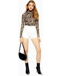 TOPSHOP - Tall Premium Denim Mom Shorts - Lyst