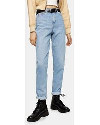 TOPSHOP Bleach Mom Tapered Jeans - Blue