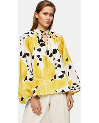 TOPSHOP lily Print Smock Top By Boutique - Yellow