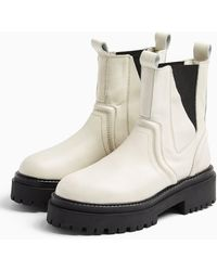 TOPSHOP Albie Ecru Leather Chunky Chelsea Boots - White