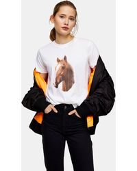 TOPSHOP Horse Print T-shirt In White