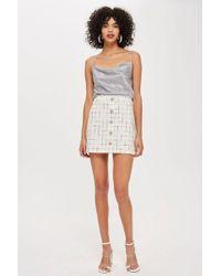 TOPSHOP - Crystal Trim Boucle Mini Skirt - Lyst