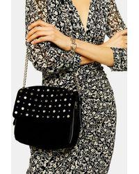 TOPSHOP Lana Black Studded Cross Body Bag