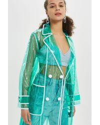 TOPSHOP - Clear Vinyl Trench Coat - Lyst