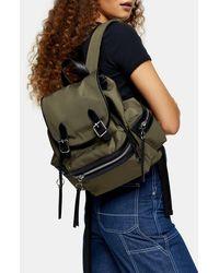 TOPSHOP Khaki Nylon Backpack - Multicolor