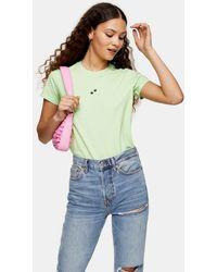 TOPSHOP Green Paw Print T-shirt