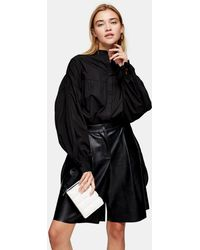 TOPSHOP Oversized Babydoll Shirt - Black
