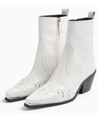 TOPSHOP Malta White Leather Western Boots