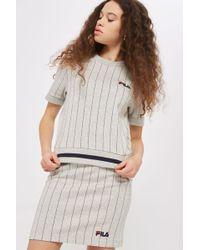 TOPSHOP - Pinstripe T-shirt By Fila - Lyst