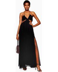 c2bd255126 TOPSHOP Square Neck Midi Slip Dress in Black - Lyst