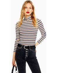 Lyst - Topshop Petite Stripe Poplin Bardot Top in Blue cf266557b