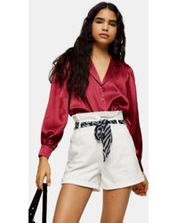 TOPSHOP White Denim Paperbag Shorts With Scarf Belt - Multicolor