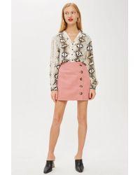 TOPSHOP - Horn Button A-line Denim Skirt - Lyst