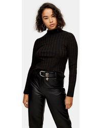 TOPSHOP - Petiteknitted Marl Funnel Neck Top - Lyst