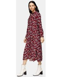 TOPSHOP Petite Burgundy Floral Trapeze Midi Shirt Dress - Red