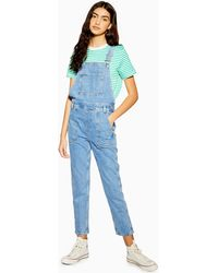 TOPSHOP Mid Blue Pocket Denim Dungarees