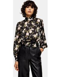 TOPSHOP Floral Split Tie Back Blouse - Black