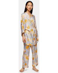 TOPSHOP Satin Floral Spot Print Robe - Blue