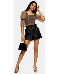 TOPSHOP Black Pu Paperbag Shorts