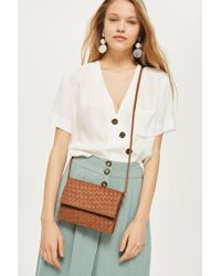 TOPSHOP - Tan Leather Braided Cross Body Bag - Lyst
