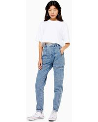 TOPSHOP Id Blue Worker Mom Jeans