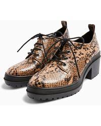 TOPSHOP Arti Snake Lace Up Heels - Multicolor