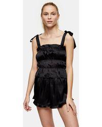 TOPSHOP Black Satin Ruched Cami Pajama Set