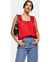 TOPSHOP Button Frill Cami - Red