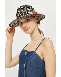 TOPSHOP - Monochrome Straw Hat - Lyst