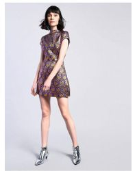 TOPSHOP - brocade High Neck Dress By Glamorous Petite - Lyst