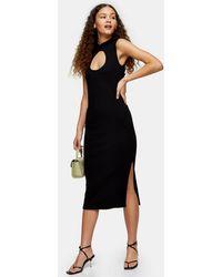 TOPSHOP Black Cut Out Midi Dress