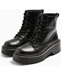 TOPSHOP Austinleather Lace Up Boots - Black