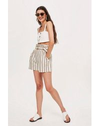 TOPSHOP - Taupe Striped Shorts - Lyst