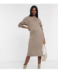 TOPSHOP Maternity Knitted Midi Dress With High Neck - Brown