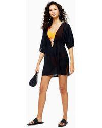 TOPSHOP Black Ring Trim Kaftan Mini Beach Dress