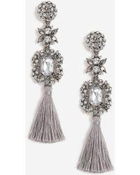 TOPSHOP - Grey Stone And Tassel Drop Earrings - Lyst