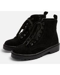 TOPSHOP Wide Fit Bumble Leather Lace Up Boots - Black