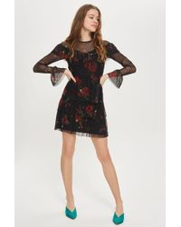 Oh My Love - Printed Mesh Layered Mini Shift Dress By - Lyst
