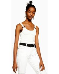 TOPSHOP - Petite Buckle Ribbed Crop Cami - Lyst