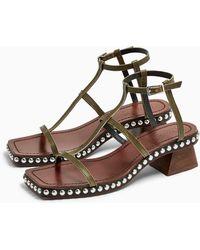 TOPSHOP Idol Valentine Leather Stud Sandals - Multicolor