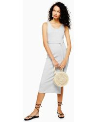 TOPSHOP - Ribbed Belted Column Dress - Lyst