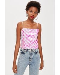 d7715e89a0176 Lyst - Topshop Broderie Print Bardot Top in White