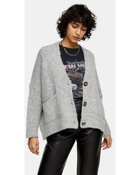 TOPSHOP Grey Marl Oversized Button Knitted Cardigan