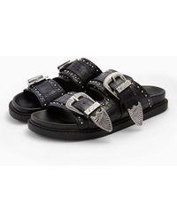 TOPSHOP Wide Fit Perufootbed Sandals - Black