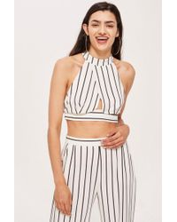 Love - Stripe Crossover High Neck Top By - Lyst