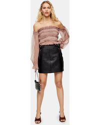 TOPSHOP Black Hardware Seam Pu Mini Skirt