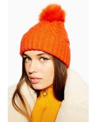 TOPSHOP - Cable Knit Beanie With Faux Fur Pom - Lyst 707ac3713d1f